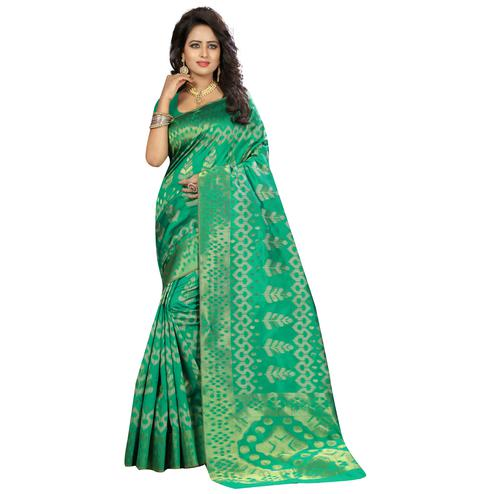 Groovy Aqua Green Colored Festive Wear Woven Kanjivaram Art Silk Saree