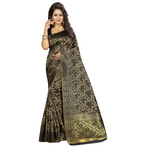 Flaunt Black Colored Festive Wear Woven Kanjivaram Art Silk Saree