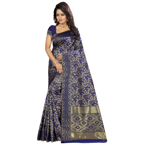 Blooming Navy Blue Colored Festive Wear Woven Kanjivaram Art Silk Saree