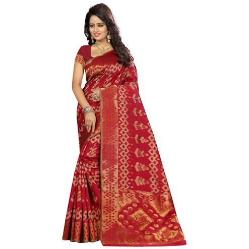 Glowing Red Colored Festive Wear Woven Kanjivaram Art Silk Saree