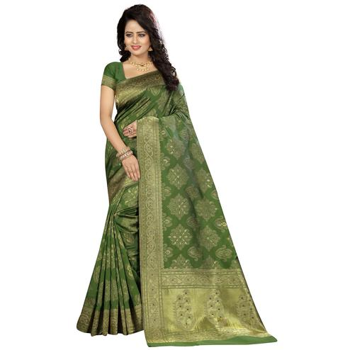 Gleaming Green Colored Festive Wear Woven Kanjivaram Art Silk Saree