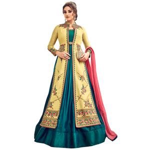 Impressive Yellow-Teal Blue Colored Partywear Embroidered Silk Anarkali Suit