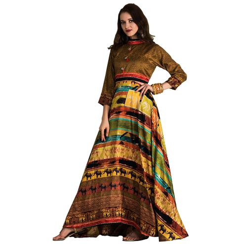 Attractive Brown-Multi Colored Partywear Printed Tussar Art Silk Gown