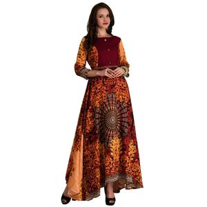 Majestic Maroon-Multi Colored Partywear Printed Tussar Art Silk Gown
