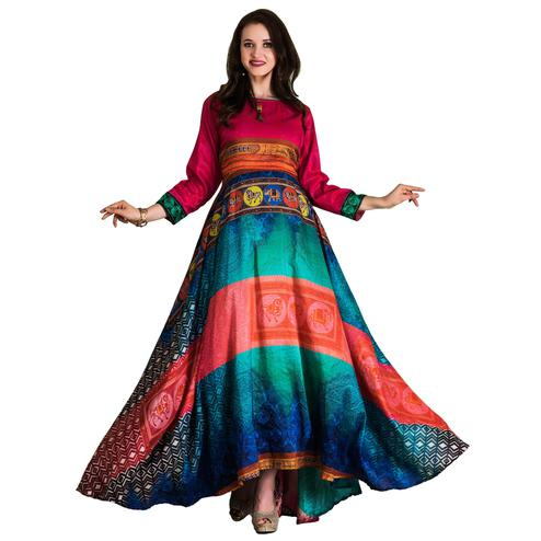 Charming Pink-Multi Colored Partywear Printed Tussar Art Silk Gown