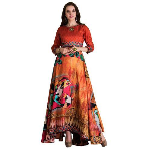 Stylish Orange-Multi Colored Partywear Printed Tussar Art Silk Gown