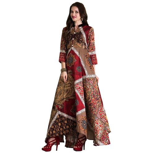 Amazing Multi Colored Partywear Printed Tussar Art Silk Gown