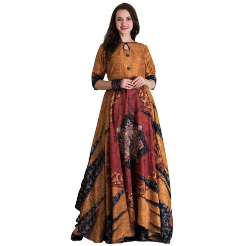 Blooming Brown-Multi Colored Partywear Printed Tussar Art Silk Gown