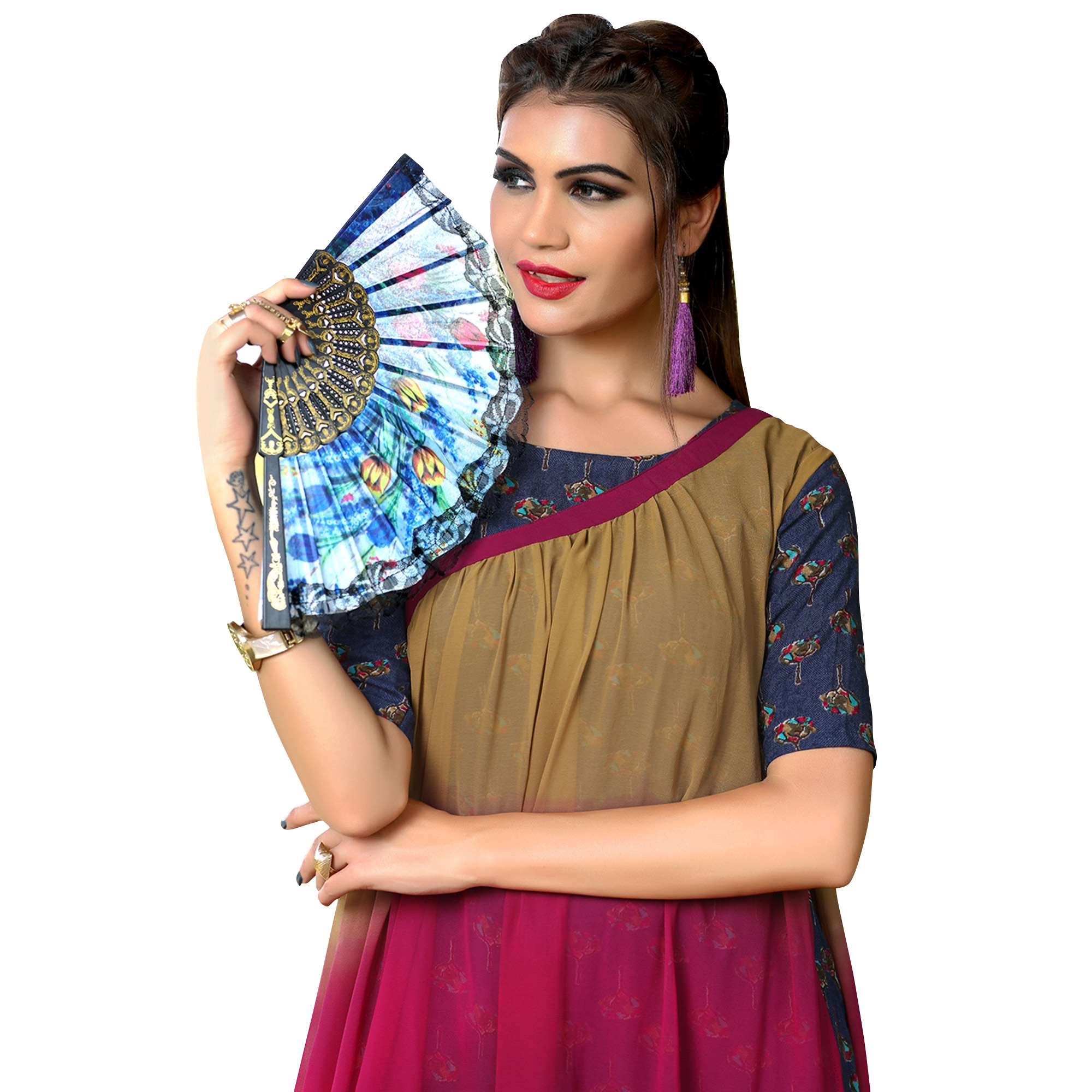 Attractive Multi Colored Partywear Printed Rayon Long Kurti