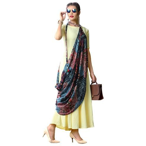 Stylish Light Yellow Colored Partywear Printed Rayon Long Kurti