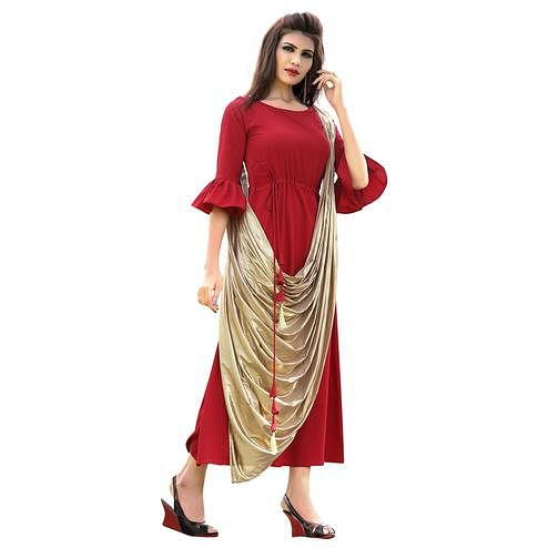 Impressive Red Colored Partywear Printed Rayon Long Kurti
