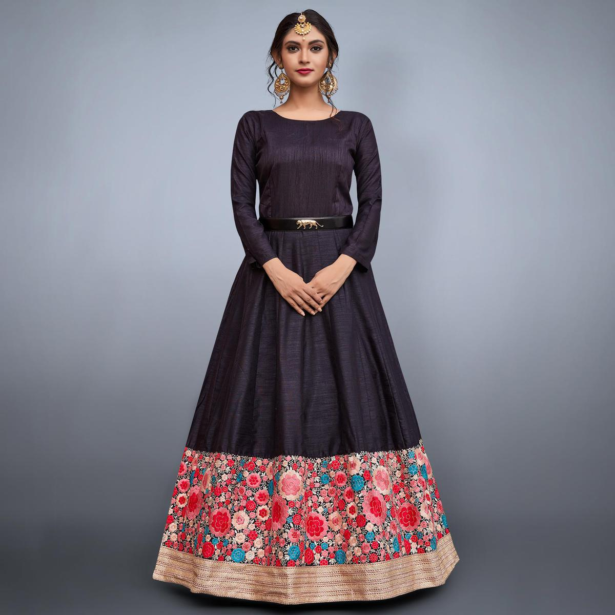 Stylish Black Colored Partywear Embroidered Art Silk Anarkali Suit