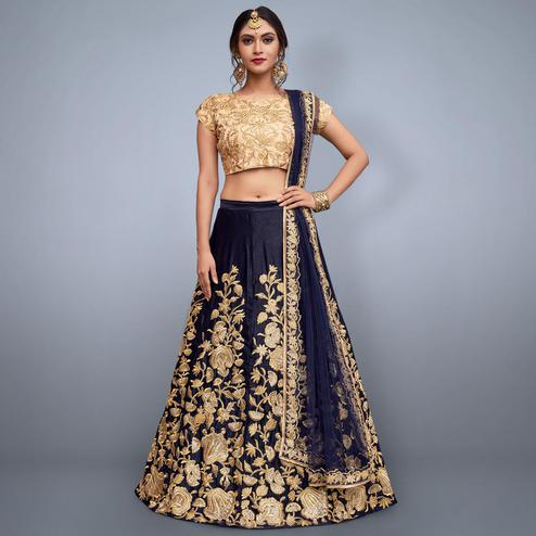 Impressive Navy Blue-Beige Colored Partywear Embroidered Velvet Silk Lehenga Choli