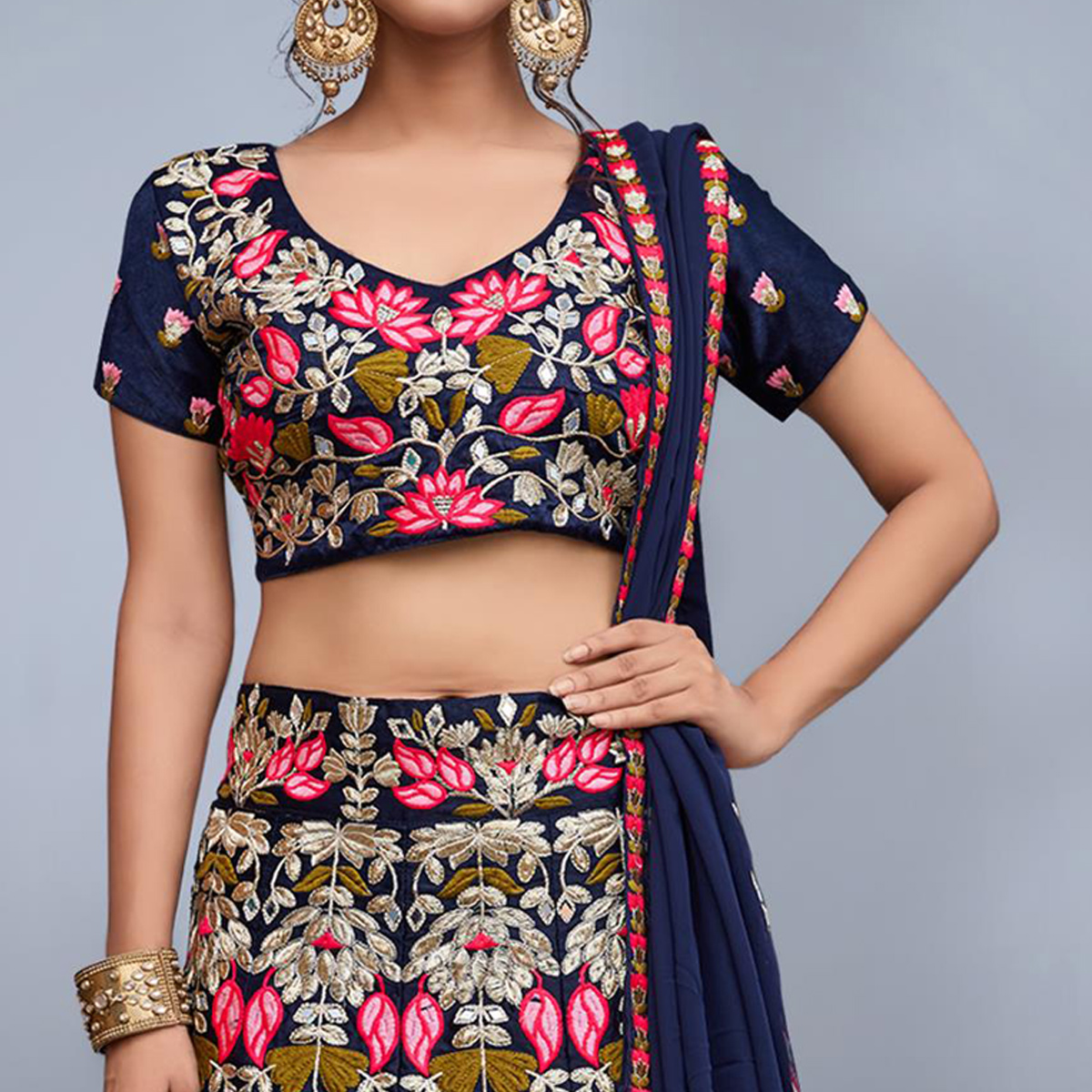 Blooming Navy Blue Colored Partywear Embroidered Velvet Silk Lehenga Choli