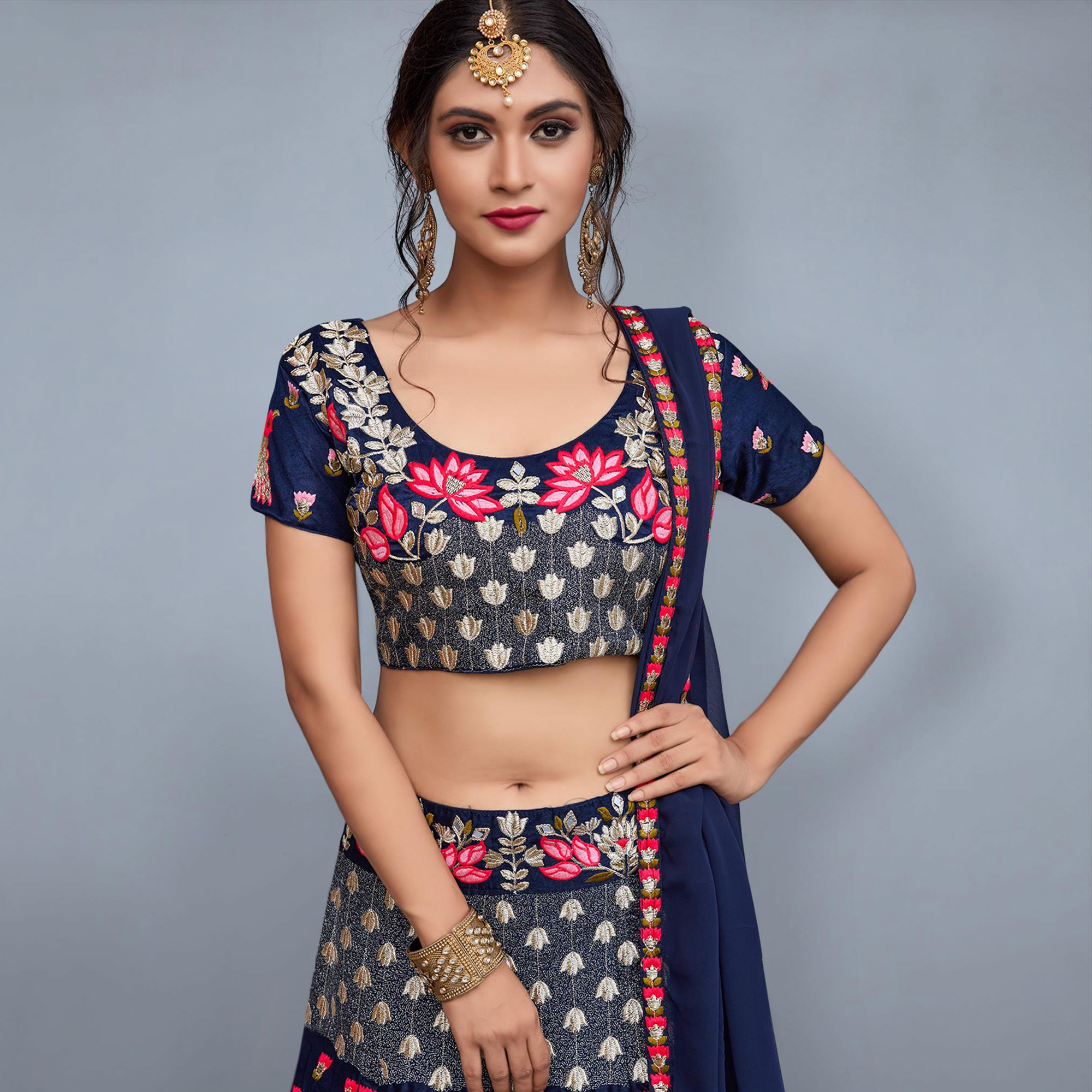 Adorning Navy Blue Colored Partywear Embroidered Velvet Silk Lehenga Choli