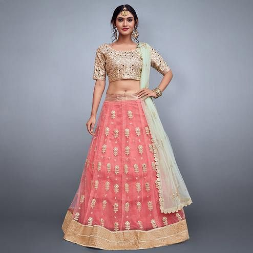 Desiring Pink Colored Partywear Embroidered Netted Lehenga Choli