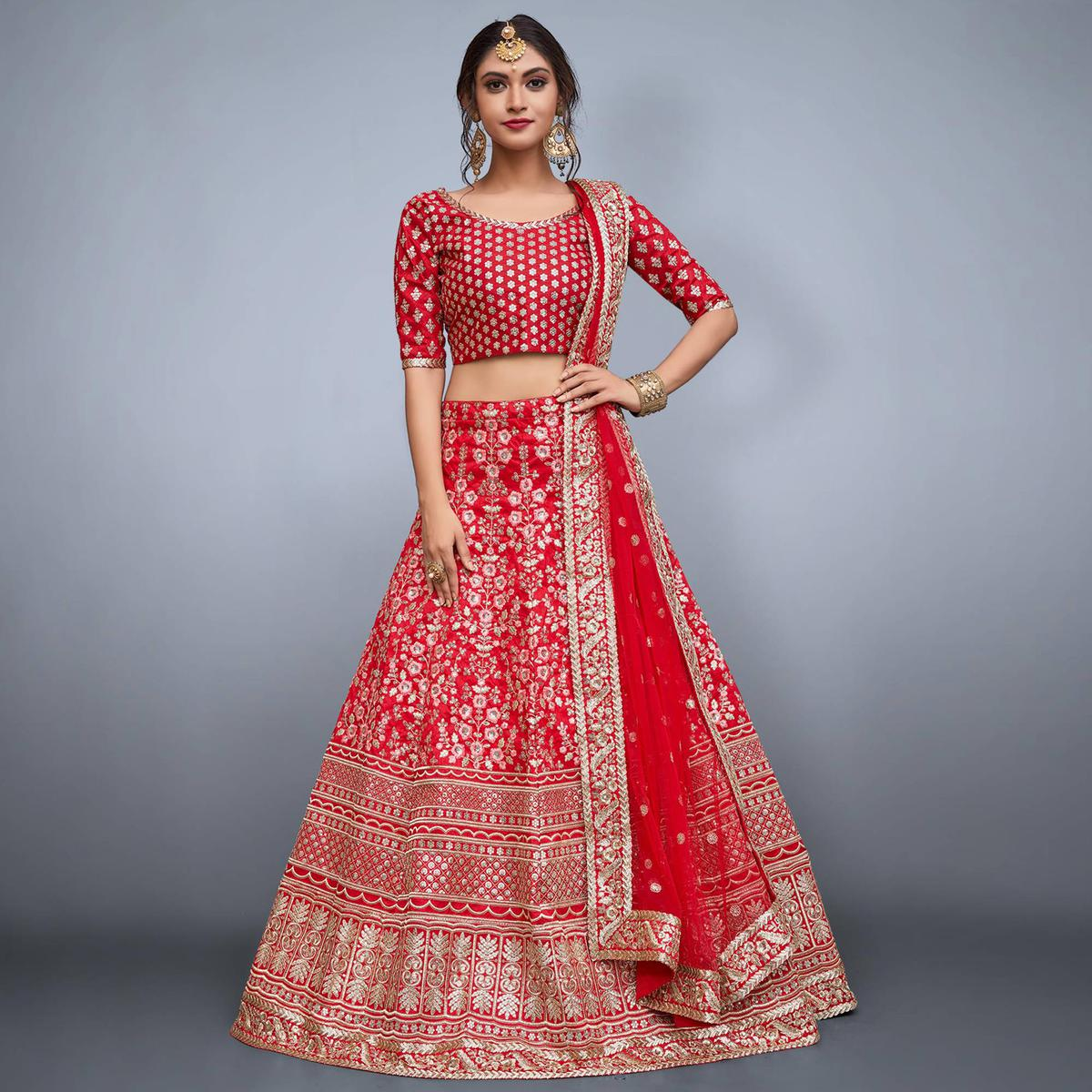 Trendy Red Colored Partywear Embroidered Art Silk Lehenga Choli
