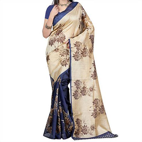 Tan - Blue Bhagalpuri Saree