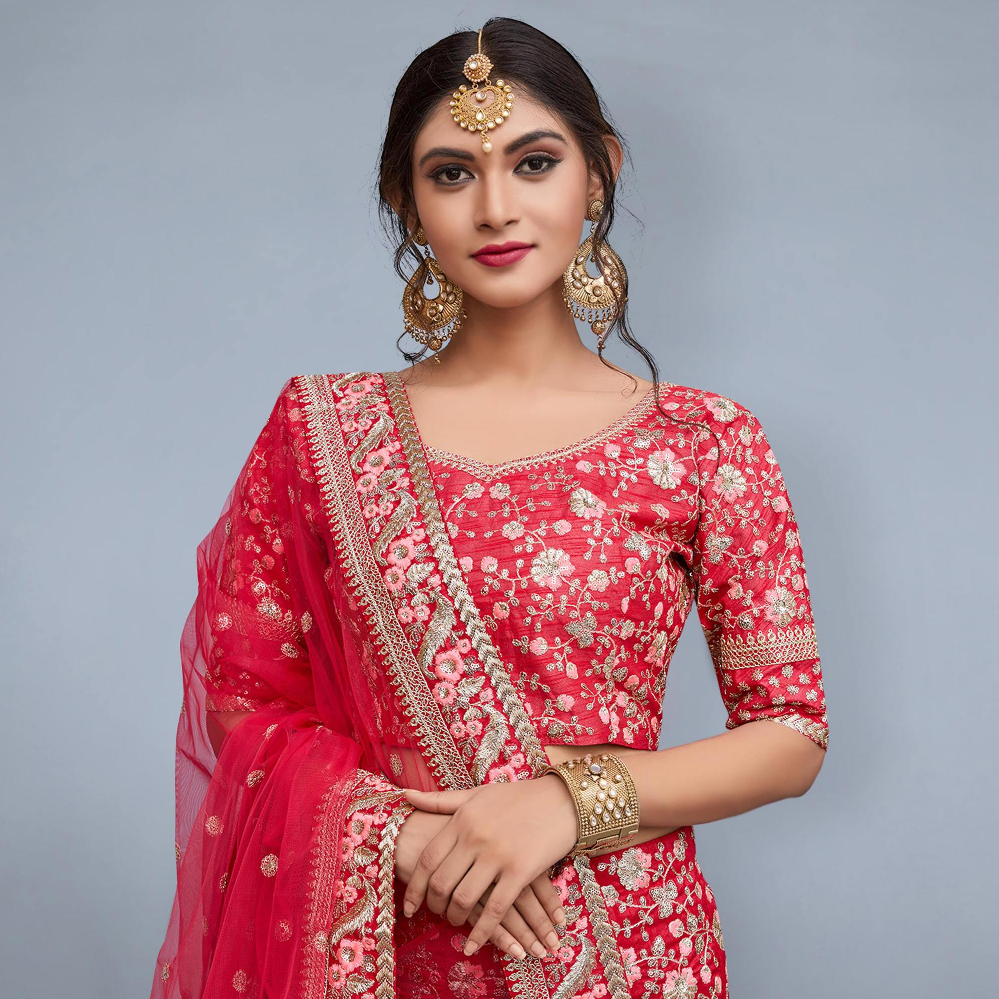 Charming Red Colored Partywear Embroidered Art Silk Lehenga Choli