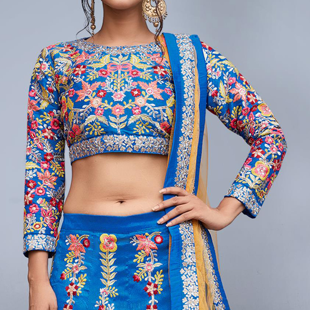 Gleaming Blue Colored Partywear Embroidered Art Silk Lehenga Choli