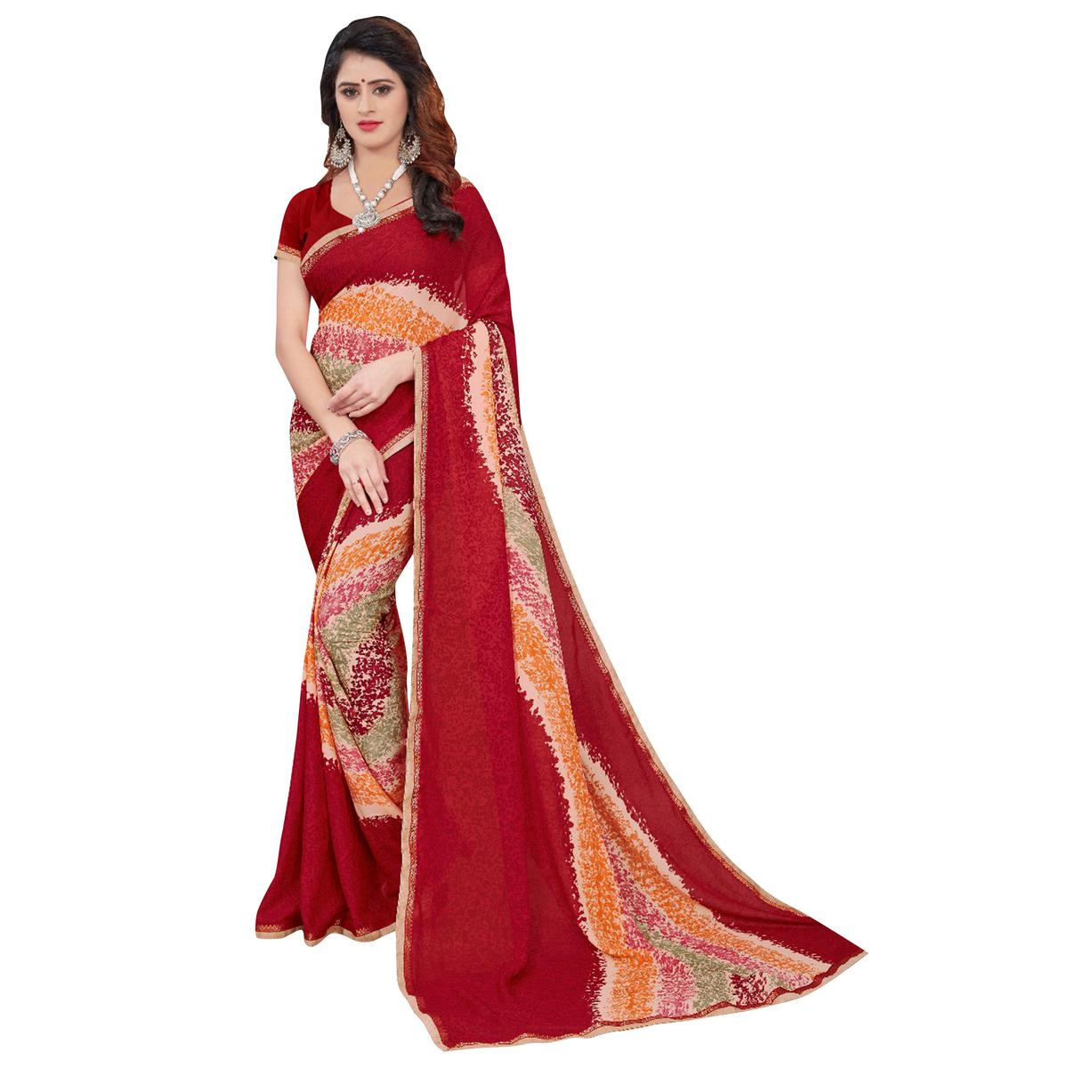 Pretty Red Colored Casual Printed Georgette Saree