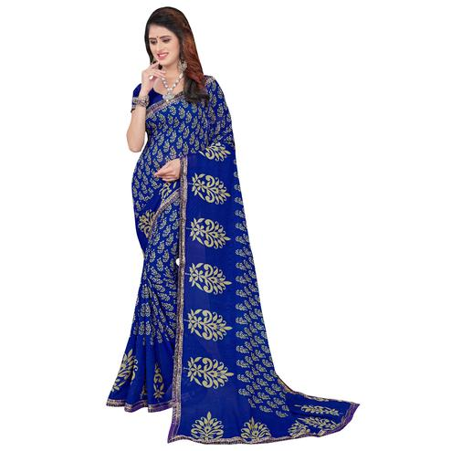 Glowing Navy Blue Colored Casual Printed Georgette Saree