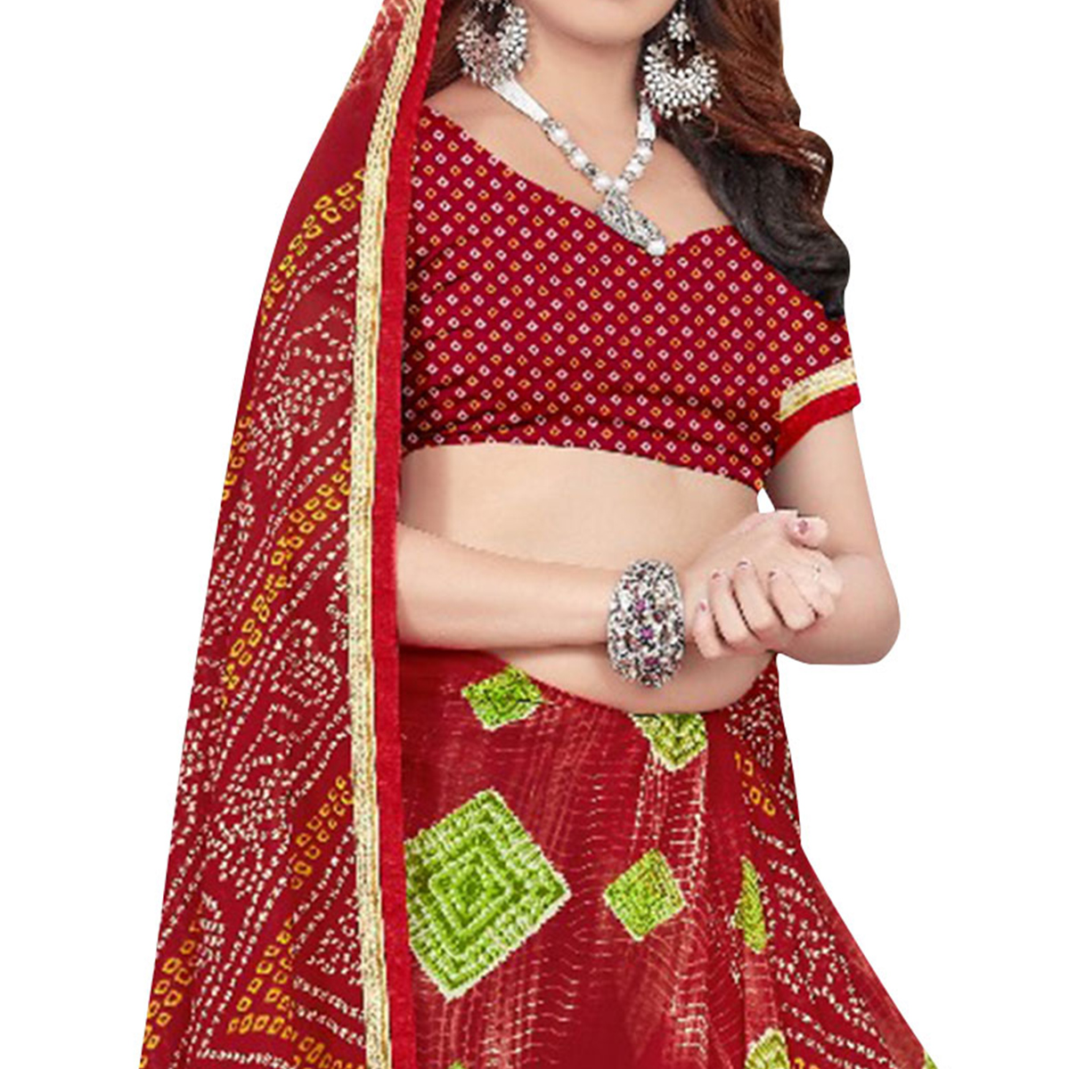 Perfect Red Colored Casual Printed Georgette Saree