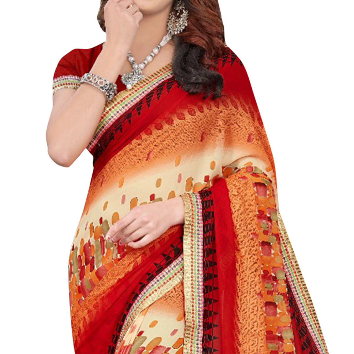 Beautiful Multi Colored Casual Printed Georgette Saree