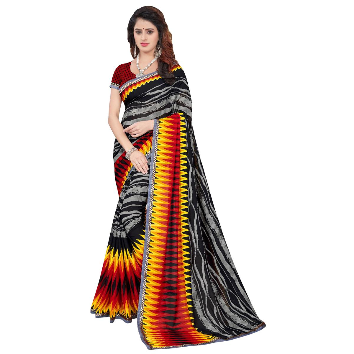 Adorning Multi Colored Casual Printed Georgette Saree