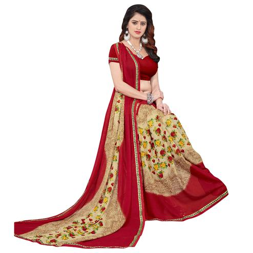 Mesmeric Beige-Red Colored Casual Printed Georgette Saree