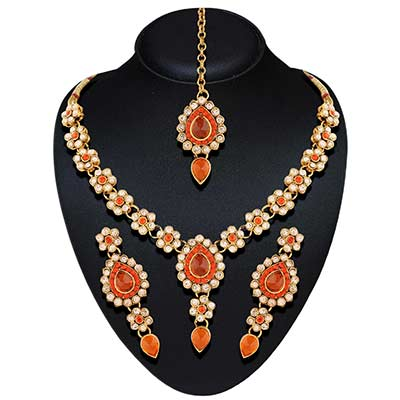 Gold Tone orange Theme Necklace Set