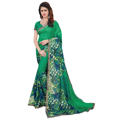 Refreshing Green Colored Casual Printed Georgette Saree