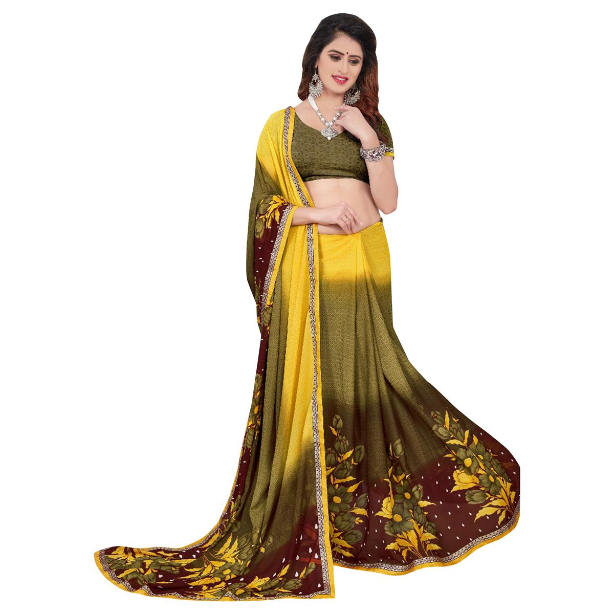 Unique Olive Green-Yellow Colored Casual Printed Georgette Saree
