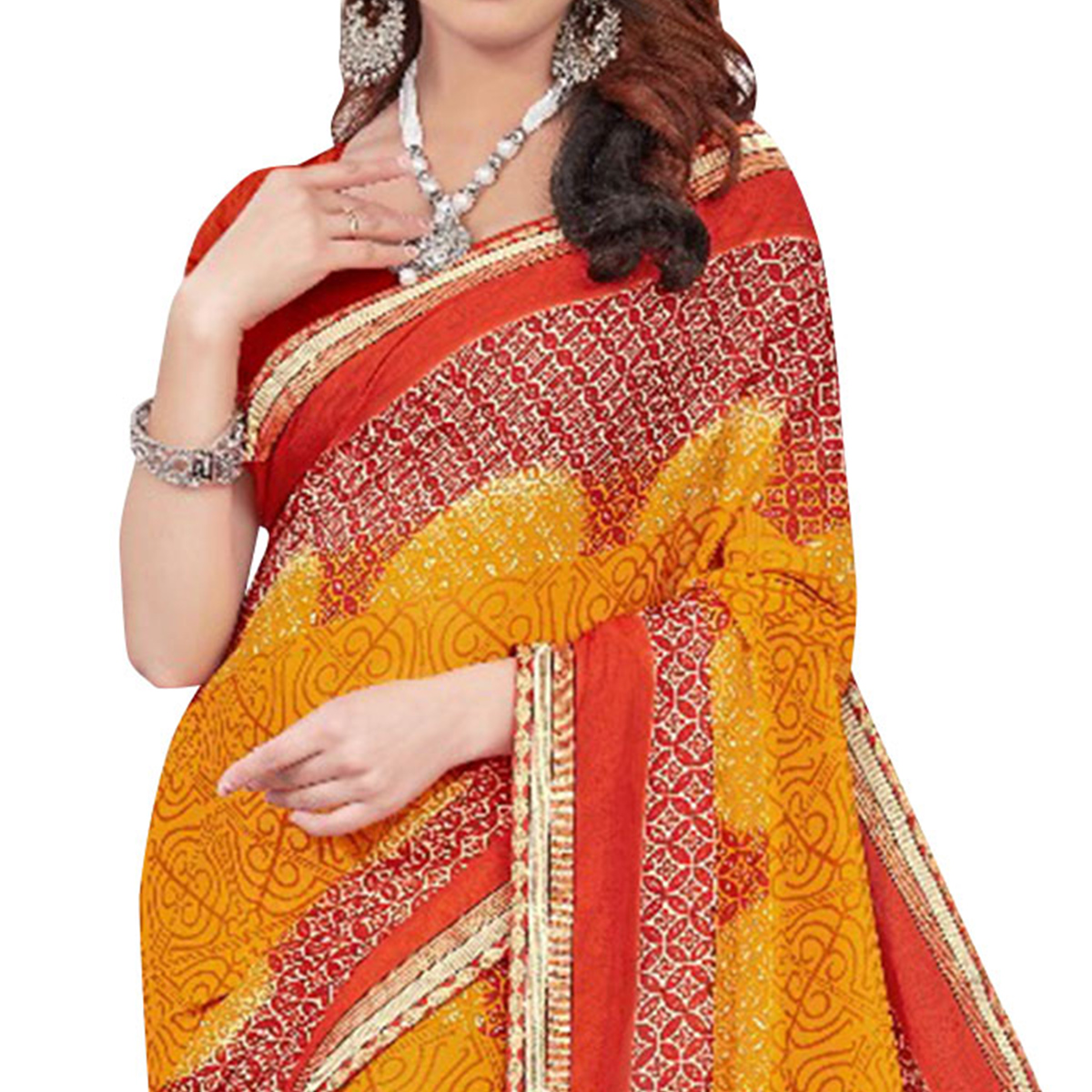 Traditional Yellow Colored Casual Printed Georgette Saree