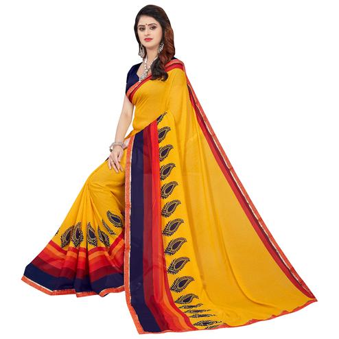 Amazing Yellow Colored Casual Printed Georgette Saree