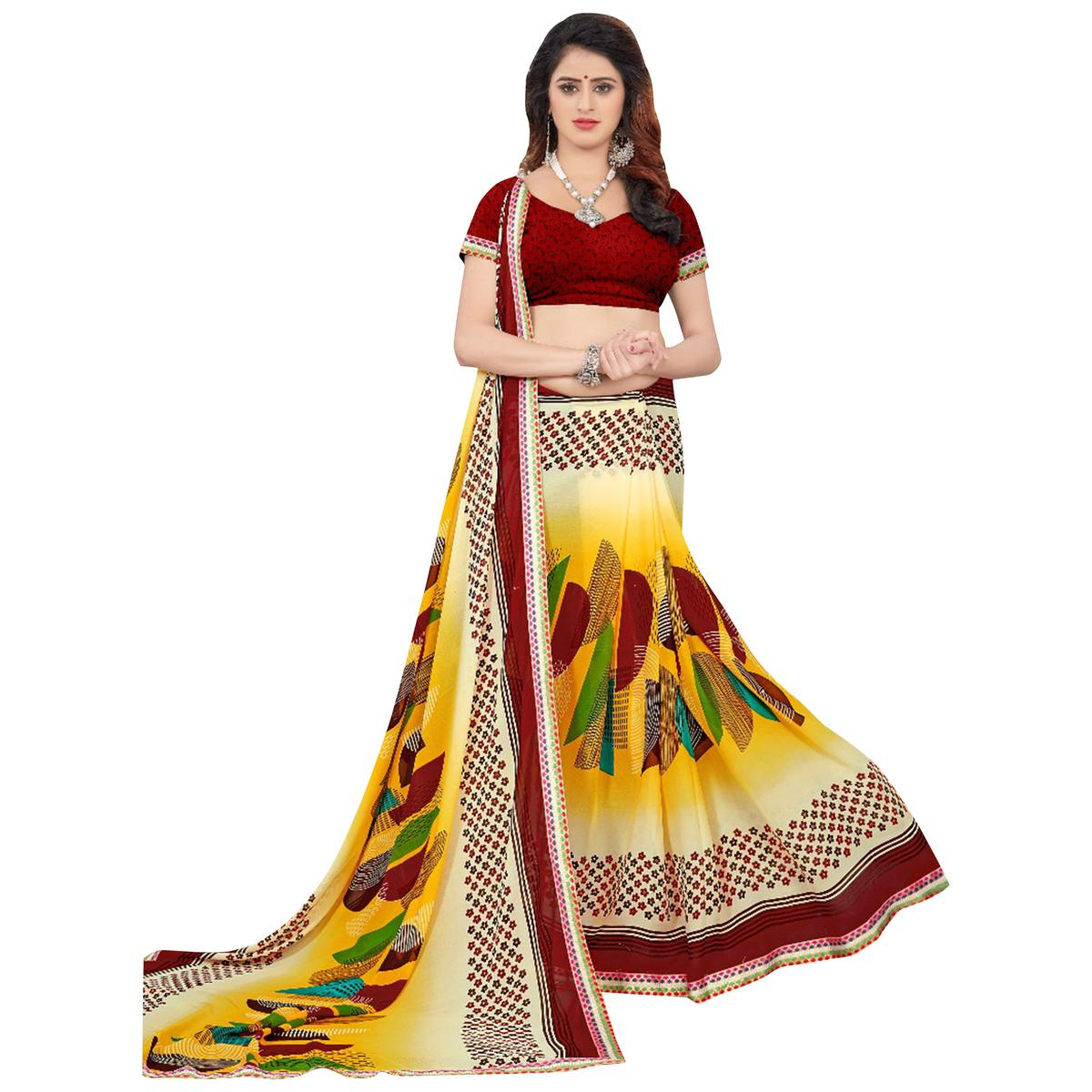 Majestic Yellow Colored Casual Printed Georgette Saree