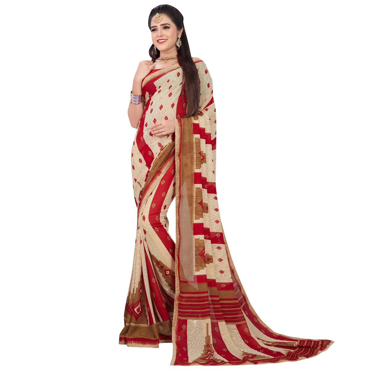 Eye-Catching Off White-Red Colored Casual Printed Georgette Saree