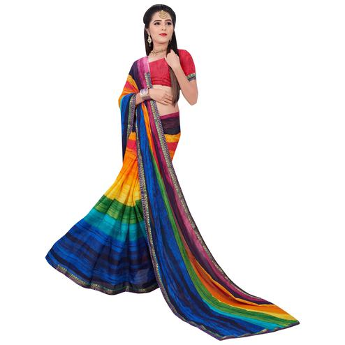 Demanding Multi Colored Casual Printed Georgette Saree