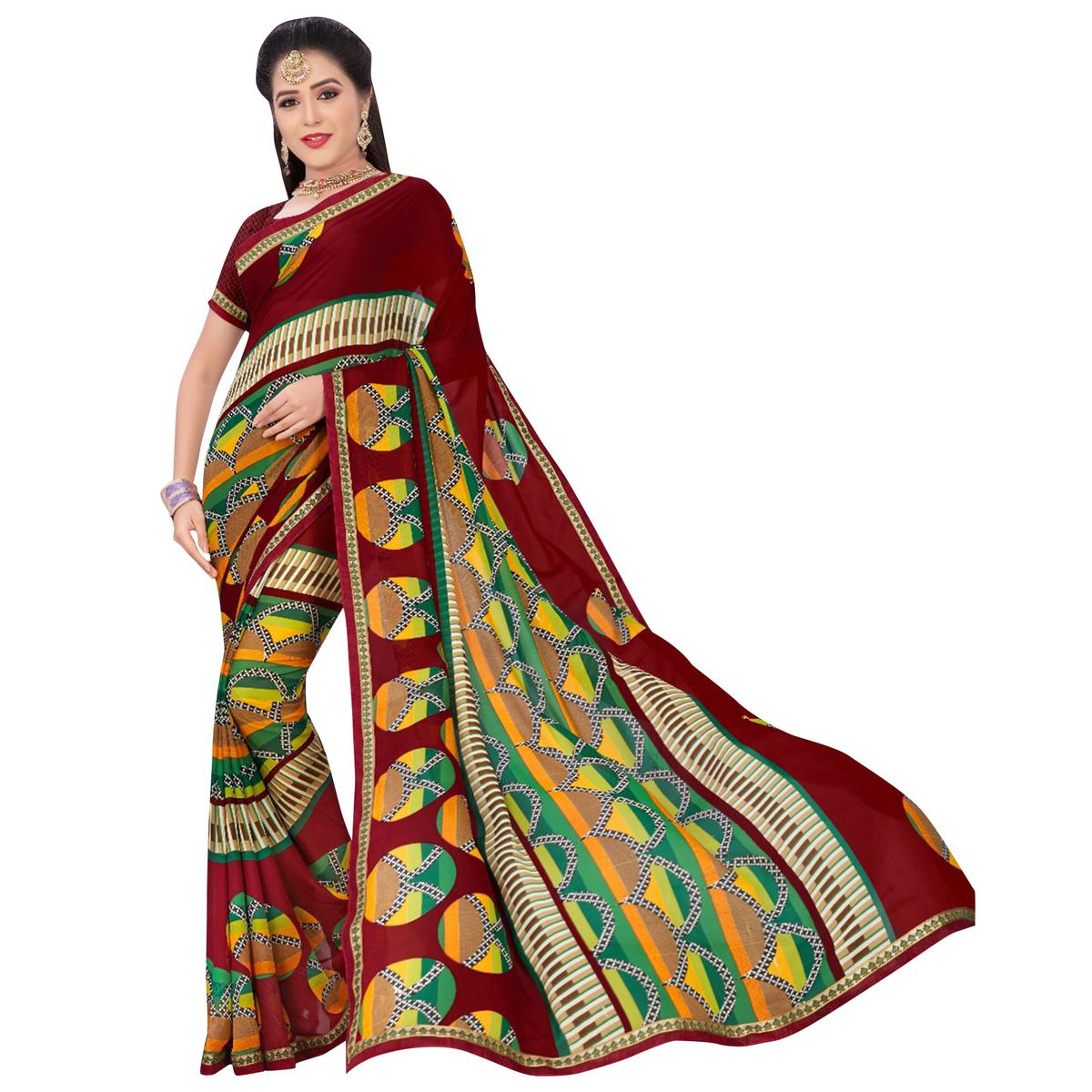 Adorning Red-Multi Colored Casual Printed Georgette Saree