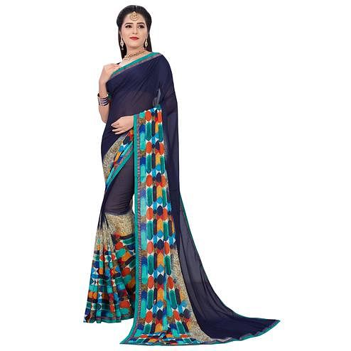 Pleasant Navy Blue Colored Casual Printed Georgette Saree