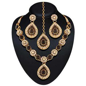 High gold plated bollywood black necklace set