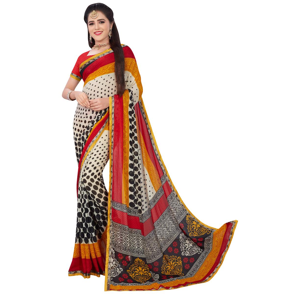 Flattering White-Multi Colored Casual Printed Georgette Saree
