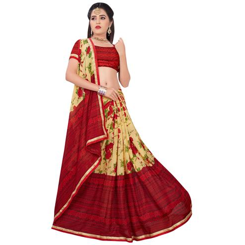 Gleaming Yellow-Red Colored Casual Printed Georgette Saree