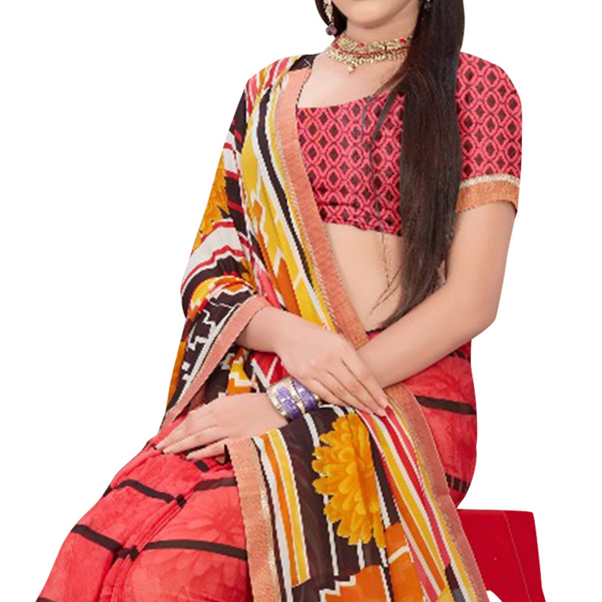 Lovely Pink Colored Casual Printed Georgette Saree