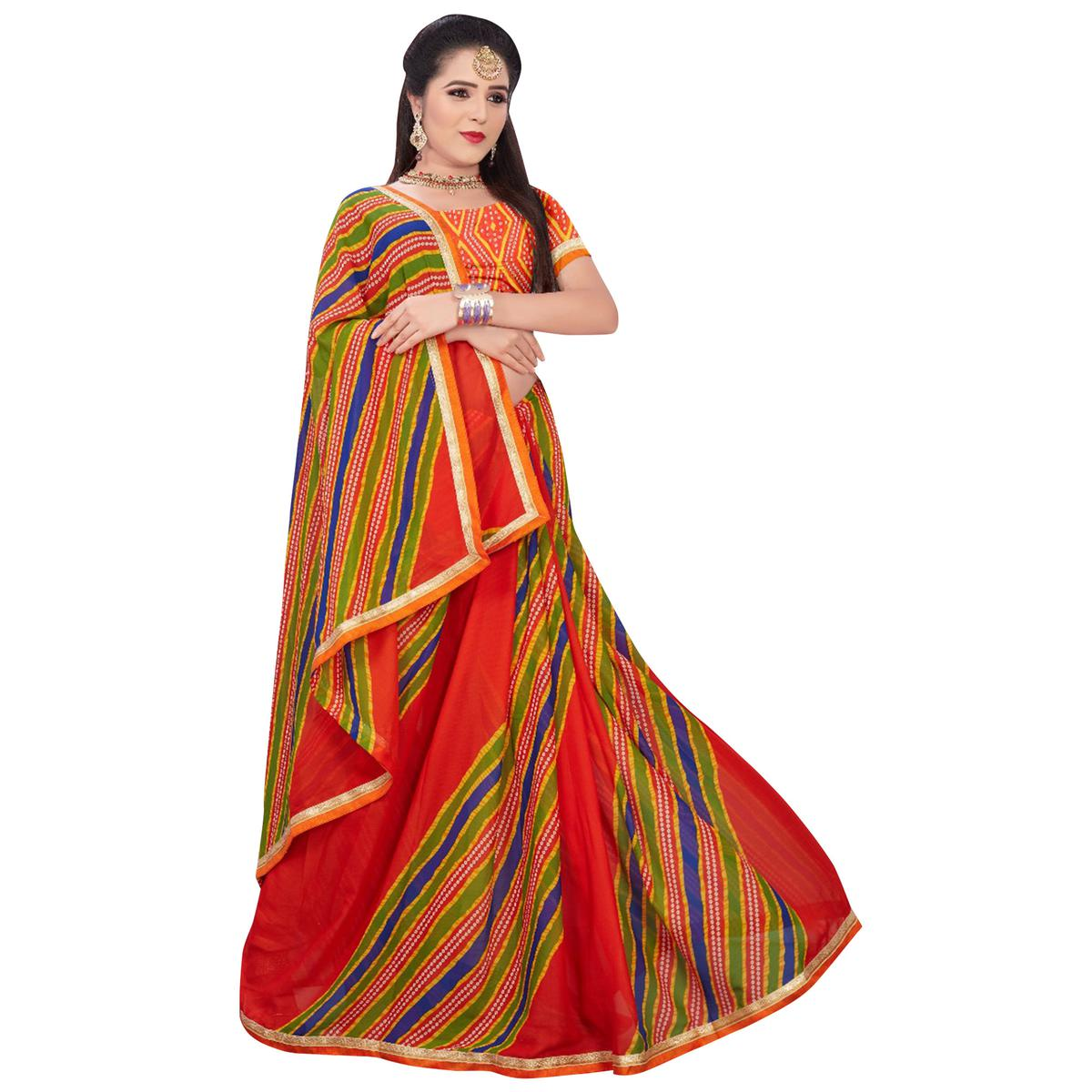 Classy Red-Multi Colored Casual Printed Georgette Saree