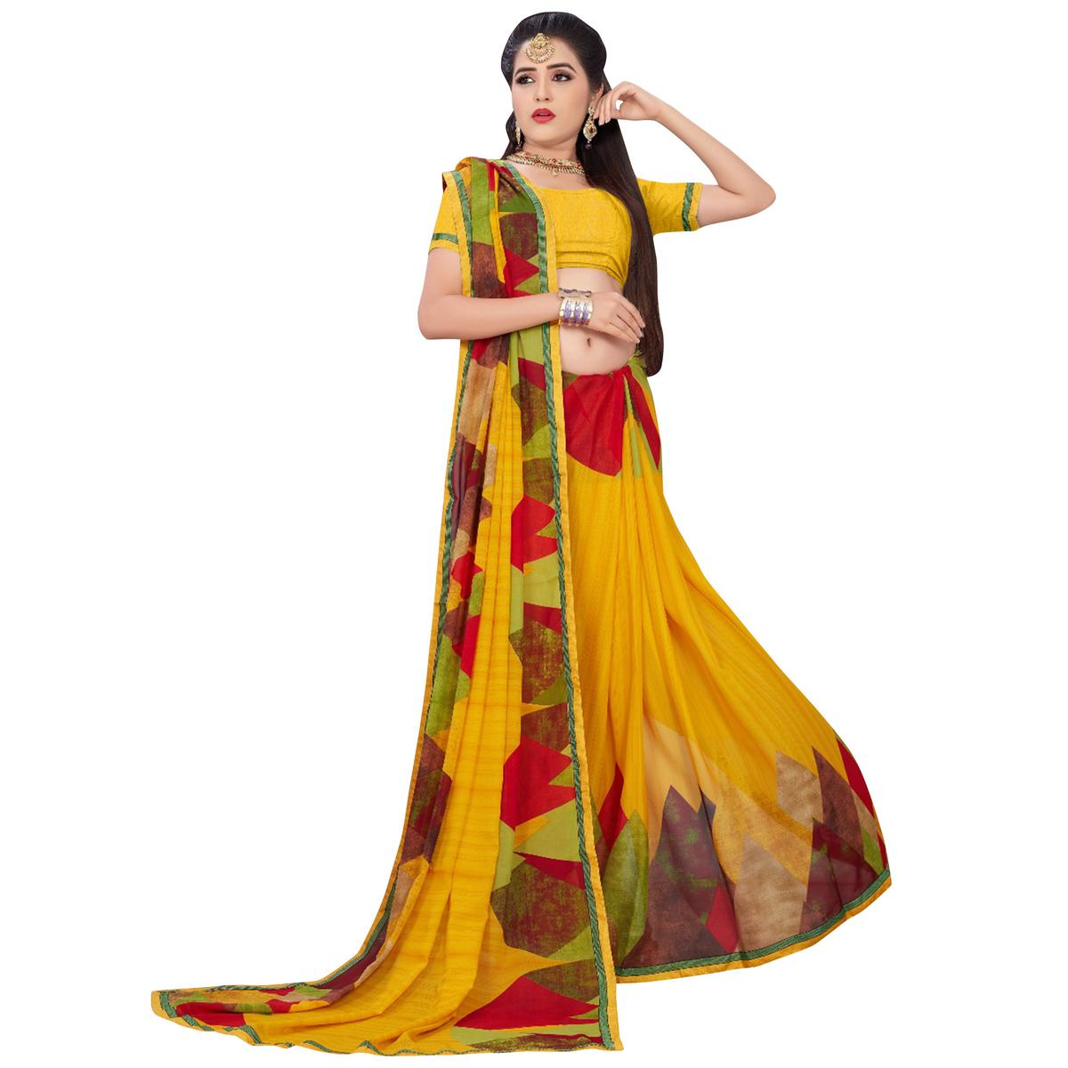 Jazzy Yellow Colored Casual Printed Georgette Saree