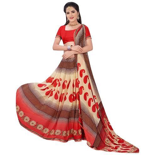 Mystic Cream-Red Colored Casual Printed Georgette Saree