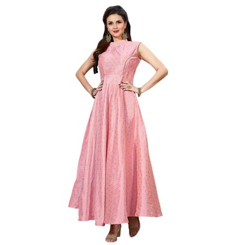 Amazing Light Pink Colored Partywear Printed Art Silk Gown