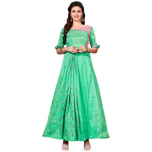 Eye-Catching Light Green Colored Partywear Embroidered Art Silk Gown