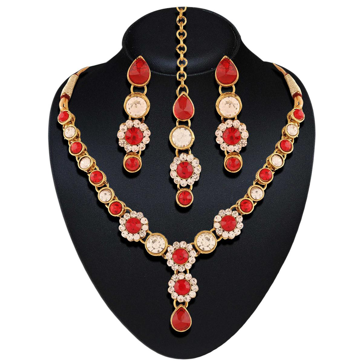High gold plated bollywood red color necklace set